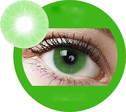 Lime: Farbige Jahres Kontaktlinsen ohne Stärke mit Aufbewahrungsbox braun blau grün grau türkis weich als 2er Pack (2 Stück) angenehm zu tragen, perfekt für helle und dunkle Augen