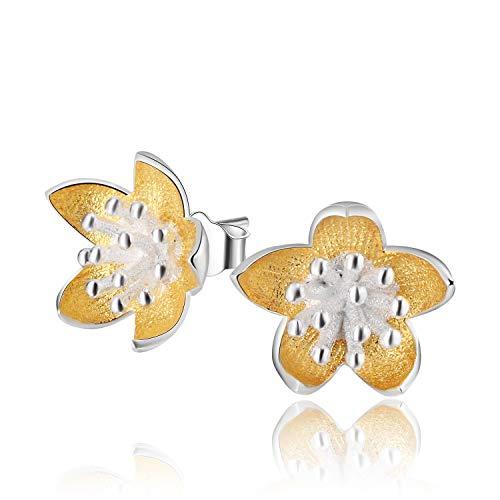 Regalo para ti Springlight Pendientes de botón de plata esterlina S925, pendientes de botón de flores frescas vintage, joyería única hecha a mano natural creativa para mujeres y niñas