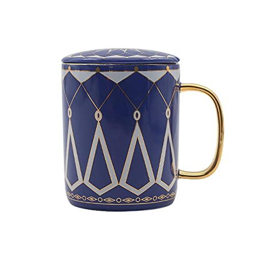 Taza de cerámica de estilo europeo con tapa creativa para el hogar, oficina, taza de agua, taza de café, regalo de boda, color rojo y azul