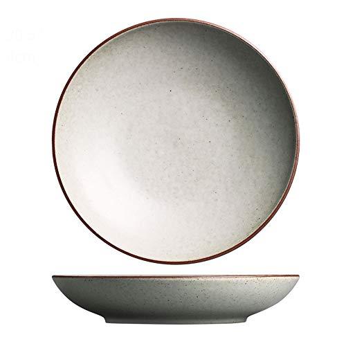 YLMF Plato Hondo de cerámica Retro Bandeja de Ensalada de Frutas Japonesa Vajilla para el hogar Resistente a Altas temperaturas Microondas Apto para lavavajillas Blanco 8 Pulgadas