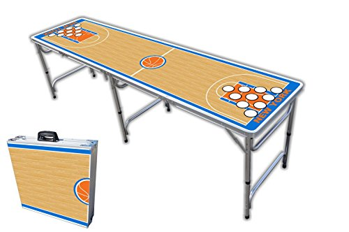 Best Bargain 8-Foot Professional Beer Pong Table w/Holes - New York Basketball Court Graphic