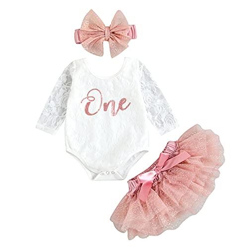 Carolilly 3 Pz Completo Bambina in Pizzo Pagliaccetto Neonata Maniche Lunghe Stampa 'One'+ Gonna in Tulle Rosa per Balletto + Fascia con Arco (Rosa, 12-18 Mesi)