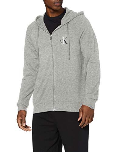 Calvin Klein Full Zip Hoodie Sudadera con Capucha, Gris (Grey Heather 080), S para Hombre
