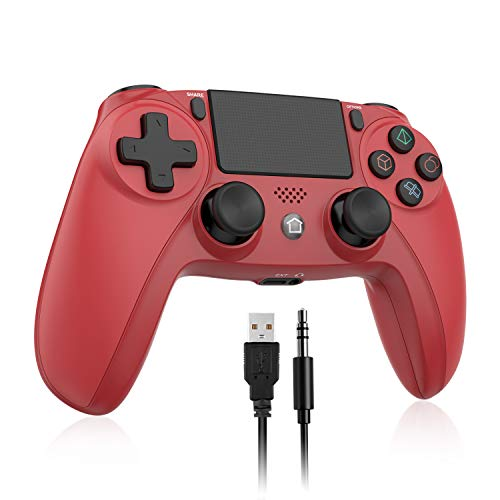 UTAWO Wireless Controller for Playstation 4/Pro/Slim/PC, Gamepad Joystick Remote for PS4 Console with Built-in Dual Vibration/6-axis Gyro Sensor/Speaker/Audio Jack (Red)