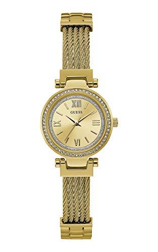 Guess Damen Analog Quarz Uhr mit Edelstahl Armband W1009L2