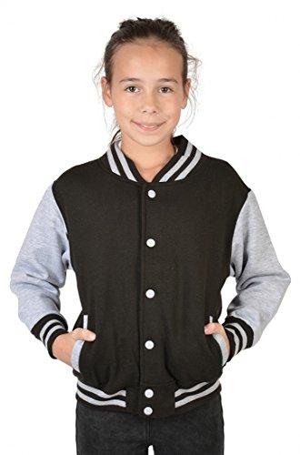 USA Mädchen Collegejacke in schwarz - Weißer Tiger Wildkatze - Kinder Schul Jacke mit Dschungel Motiv - Geschenk, Kinder Größe:XL / 152