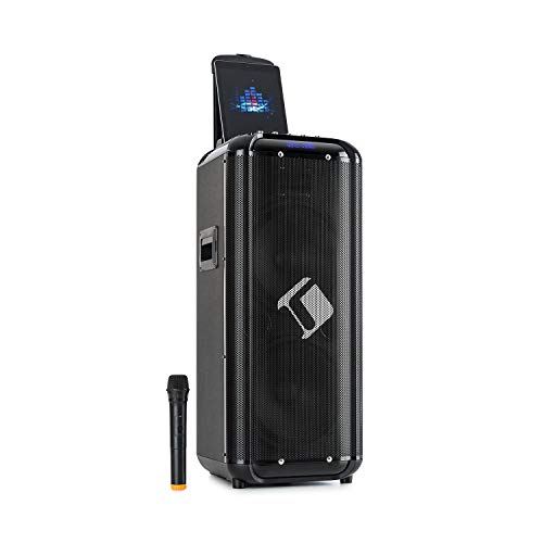 """auna Moving 2100 Mobile 2 x 10 PA-Anlage / Karaokeanlage, XMR-Bass-Technology: 2 x 10 (25,4 cm) Woofer / 3\"""" Tweeter / 100 W Nennleistung / 300 W max., Smartphonehalterung, schwarz"""