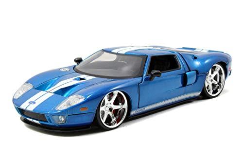 Jada Toys 253203013 Fast & Furious 2005 Ford GT, Spielzeugauto aus Die-cast, Auto, öffnende Türen, Kofferraum & Motorhaube, Maßstab 1:24, blau