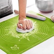 تستخدم حصيرة الخبز المصنوعة من السيليكون لخبز الخبز وقياس لزوجة الخبز، (باللون الاخضر)