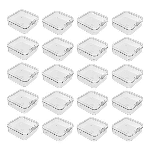 afdg Mini Caja de Plástico Transparente, 20 Caja Pequeña con Tapa Abatible, Caja de Plástico Transparente Rectangular para Cuentas Pequeñas, Joyas y Otros Objetos Pequeños