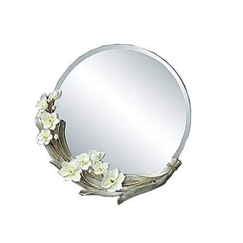 QXHELI Spiegels Spiegels - Pastorale cyclus waterdicht landelijke 3D terrein bloemen spiegels hars Schoonheidssalon van de hangende muur anti-mist-het geld welkomstspiegels (kleur: rozen)