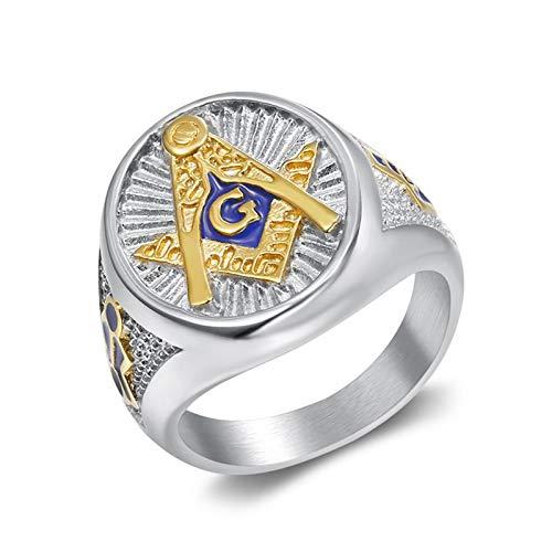 ZiFei Anillo, Hombres Masón Acero Inoxidable Símbolo Masónico Anillos Masonería Caballeros Templarios Joyería,11