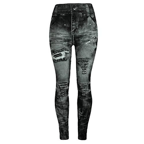 Vaqueros de Jeans para Mujeres Pantalones de Hip-Hop Nueve Pantalones de Denim de Rotos