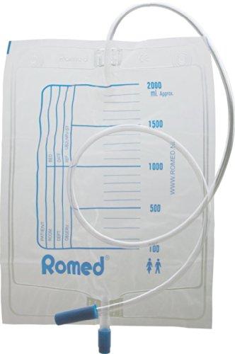 Urinbeutel 2,0 Liter mit Ablaufventil einzeln steril in Folie verpackt CE Romed(Menge: 10 Stück)