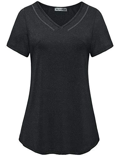 MISS FORTUNE Women's Activewear, Ladies Exercise Tops Dri Fit Shirt Short Sleeve Workout Tunics Yoga Wear Black L