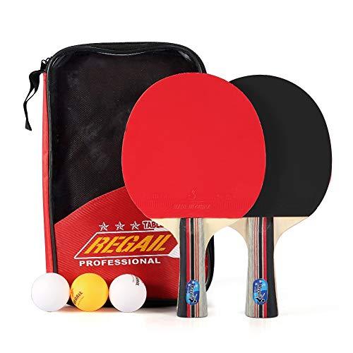 Alomejor Juego de 2 palas de tenis de mesa premium de 7 capas, palas de ping pong de madera, 3 bolas y 1 funda de transporte para actividades deportivas al aire libre en interiores