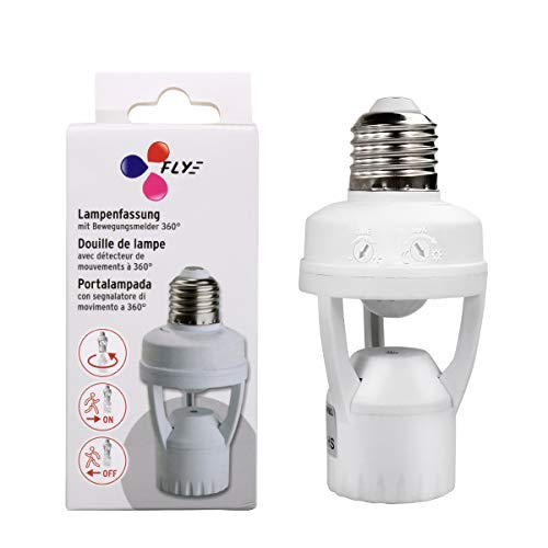 Toplimit Motion Sensor Light Socket,PIR Motion Detector Screw Bulb Adapter,Auto E26/E27 on/off Night Light Control,Garage,Closet,Basement,Laundry Room,Porch,Storage Room Intensified Lighting Fixture