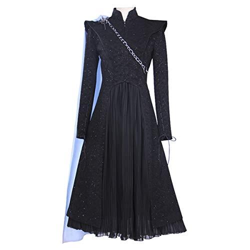 iCos Women's Black Shinning Long Sleeve Tuxedo Suits and Chiffon Dress Cosplay Halloween Costume Chain Cape (XX-Large)