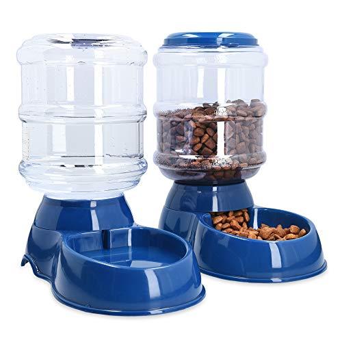 Navaris Futterspender und Wasserspender für Haustiere - Set zur Fütterung von Hund und Katze - Futterstation Futterautomat für Trockenfutter