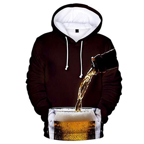 Hooded Casual 3D Printing Hoodies,Pour Bier Bruin Lange Mouwen Ademende Unisex Sweatshirts Verstelbare Trekkoord Truien met Kangaroo Pocket