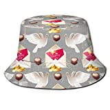 Peace Dove Chocolate Cake Champagne Bucket Hat Packable Summer Travel Bucket Beach Sun Hat Fisherman Cap