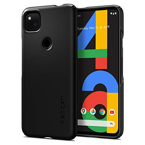 Spigen Thin Fit Hülle Kompatibel mit Google Pixel 4a -Schwarz