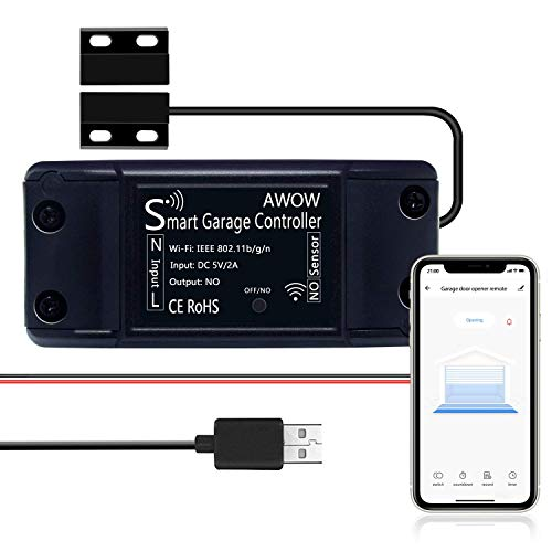 Smart Wi-Fi Garage Door Opener Remote, USB Power Supply, Smart Life/Tuya APP Remote Control, Compatible with Alexa, Google Assistant, No Hub Required,Only Support 2.4G WiFi