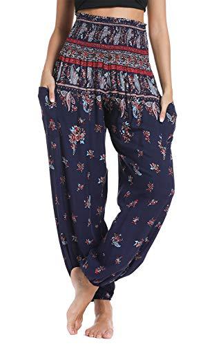 Urban CoCo Women's Smocked Waist Boho Floral Print Harem Yoga Pants (S, 4)