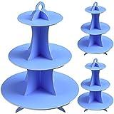 Paquete de 3 Soportes para Magdalenas de cartón Azul de 3 Niveles para Postre, para cumpleaños, Fiestas, Baby Showers