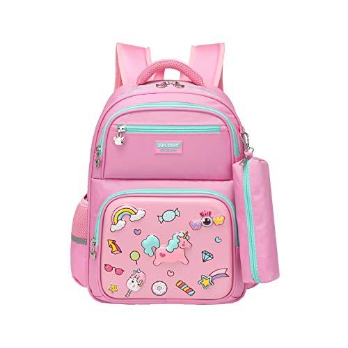 Zaino per bambini Zaino per scuola Borsa per bambini Borsa da viaggio con borsa a matita per ragazze e ragazzi Rosa
