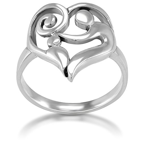 925 Sterling Silver Heart Shaped Mom and Child Love Ring, Size 7