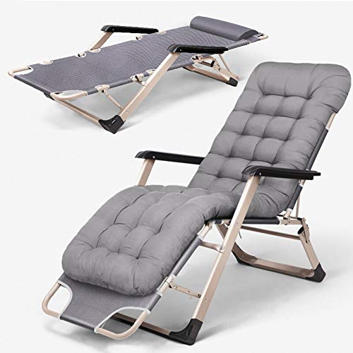 JKJ Folding Sun Lounger, Garden Chair With Removable Headrest, Multi Position Adjustable, Footrest Can Be Raised,Gray