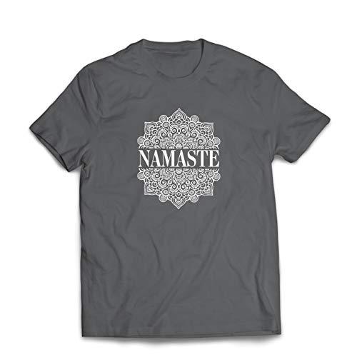 lepni.me Camisetas Hombre Meditación Yoga Namaste Mandala Zen Regalo Espiritual para Yogui (Small Grafito Multicolor)