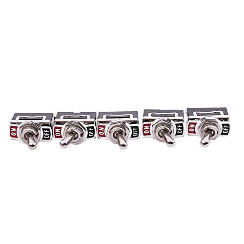 Gesh 5 piezas 12 V Heavy Duty Interruptor de palanca de encendido / apagado de coche luz de metal SPST 12 V