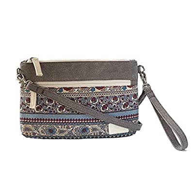Floral Crossbody Wristlet PParth Canvas Lightweight Dual-strap Purse Handbag for Women (Grey)