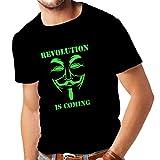 lepni.me Camisetas Hombre La Revolución se Acerca Hackers Anónimos Legión V para Vendetta (XXXX-Large Negro Verde)