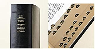 LDS Scriptures - Holy Bible, Book of Mormon, Doctrine and Covenants, Pearl of Great Price (Regular Quad) Black Genuine Lea...
