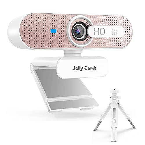Jelly Comb Cámara Web HD USB para Ordenador con trípode, 1080P, con Enfoque automático, protección Visual y micrófono Dual para Skype, Llamadas de vídeo, conferencias, grabación, Streaming, Rosa