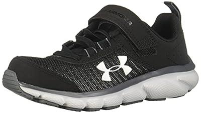 Under Armour Kids' Pre School Assert 8 Alternate Closure Sneaker, Black (001)/Pitch Gray, 2