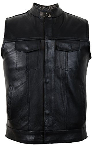 MDM Jeans Lederweste aus echtem Rindsleder (L)