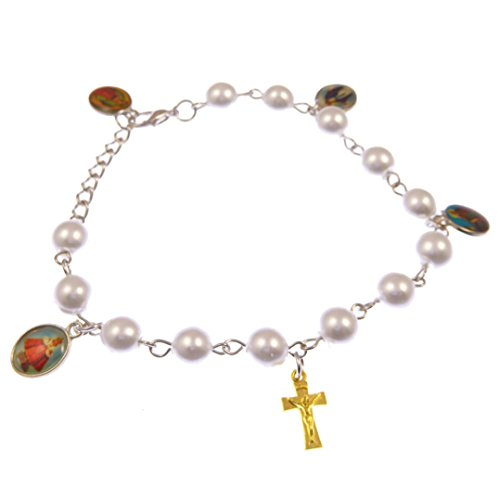 R. Heaven Catholic White Pearly Mixed Saints and Crucifix Bracelet + Clasp Miraculous