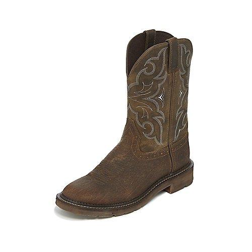 Justin Men's Amarillo Western Work Boot Round Toe Brown 9 D