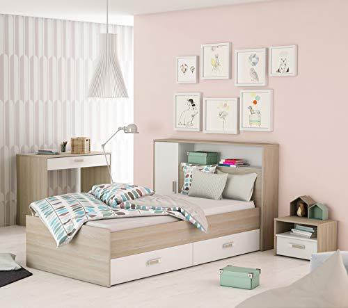 Miroytengo Pack Dormitorio Juvenil Switch Completo Color Blanco y Roble (Cama + cajones + cabecero + Escritorio)