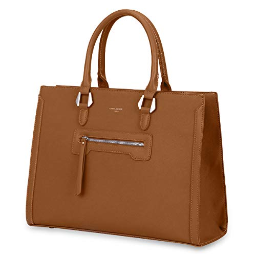 David Jones - Dames Handtas Groot - Tote Shopper PU Leer - Elegante Hengseltas Grote Capaciteit - Veel Vakken Zakken Schoudertas Crossbodytas - School Werk Business Kantoor - Bruin