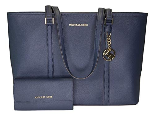 Bundle of 2 items: MICHAEL Michael Kors Sady Large MF TZ Tote bundled with Michael Kors Jet Set Travel Large Trifold Wallet Extra Large Saffiano Leather Tote, Top zip closure, Double top handles, slip pocket in back Interior : 1 main compartment, 1 l...