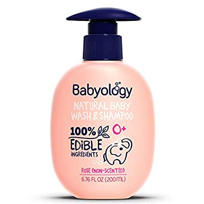 Babyology - All Natural Baby Wash and Shampoo - 100% Edible Ingredients - with Organic Rose Water (Unscented) - 6,76 FL. OZ - Good for Sensitive Skin - Non Toxic - No Tears (Scents & Packs Vary)