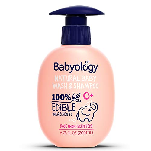 Babyology All Natural Baby Wash and Shampoo - 100% Edible Ingredients - with Organic Rose Water (Unscented) - Good for Sensitive Skin - Non Toxic - Tear Free (Scents & Packs Vary)