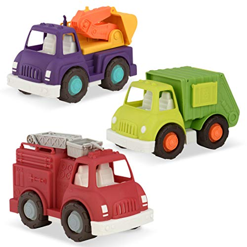 Wonder Wheels by Battat – Fire Truck, Recycling Truck, Excavator Truck – Combo of Recycling, Excavator, & Fire Truck Toys for Toddlers Age 1 & Up (3 Pc).
