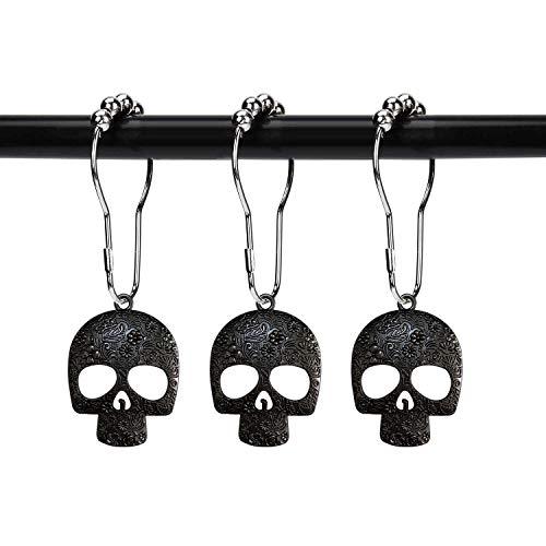 ZILucky Set mit 12 Zuckerschädel Duschvorhanghaken Deko Zuhause Badezimmer Edelstahl rostfrei Skelette Duschvorhangringe Dekor Zubehör (schwarz)