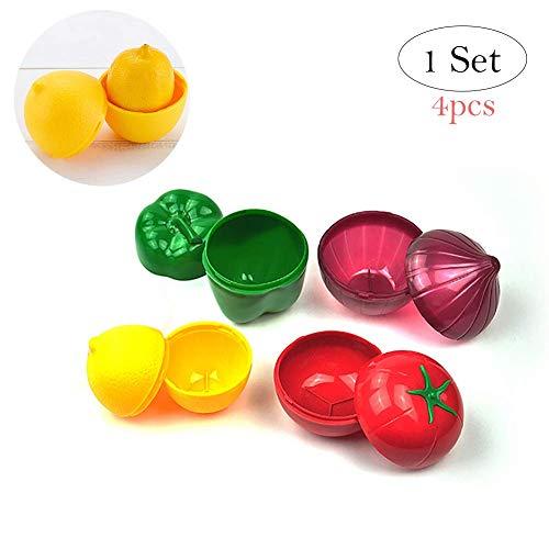 Aokshen - Juego de 4 recipientes Reutilizables de plástico para Guardar Alimentos y Verduras, con Forma de Cebolla, Pimienta, limón, Tomate, para Guardar Alimentos